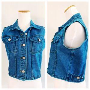 Vintage 90s Neon Turquoise Overdyed Denim Vest